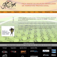 Hotsite AMPRO Globes Awards 2010 - todas as informações, inscrições e envio de cases para o maior prêmio de marketing promocional do país