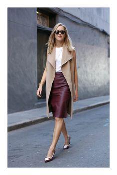 Skirt Outfits Modest For Business Women 2019 09 Fall Outfits, Casual Outfits, Dress Casual, Outfit Winter, Casual Heels, Skirt Outfits Modest, Dress Skirt, Sleeveless Coat, Mode Inspiration