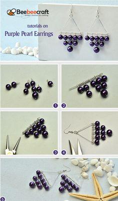 Beebeecraft tutorials on making Purple Pearl Earrings Bead Jewellery, Wire Jewelry, Jewelry Crafts, Jewelry Making Tutorials, Jewelry Making Beads, Beaded Jewelry Patterns, Beading Patterns, Beaded Tassel Earrings, Pearl Earrings