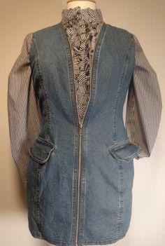 Vintage Womens Denim Vest Tunic Length Zip Front by pursenbootz