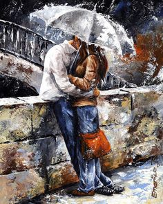 Rainy Day - Love In The Rain Painting-Emerico Imre Toth