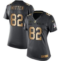 Nike Cowboys #82 Jason Witten Black Women's Stitched NFL Limited Gold Salute to Service Jersey