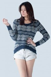 NAVY LONG SLEEVE TRIBAL PRINT MOHAIR SWEATER - $20.89 on @ClozetteCo