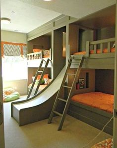 Green and orange bunk bedroom with awesome slide. Good design doesn't date! Baronessa Home Furnishings and Accessories boasts a beautiful online showroom, which is a combination of custom made, vintage, and antique luxury home furnishings and accessories. Visit our website at www.ShopBaronessa.com.