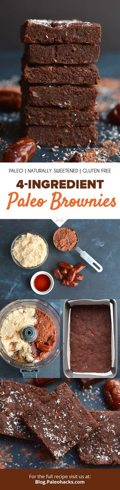 All you need is four ingredients to whip up these yummy, no-bake chocolate brownies! Get the full recipe here: http://paleo.co/4ingbrownies