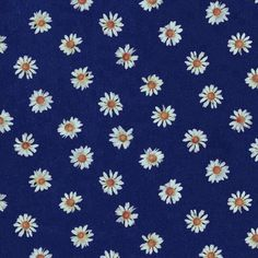 Navy blue background white daisies print