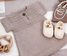 """vest cad de naiss [ """"Baby knit wear so sweet. Nice garter sts sweater all in one piece. Not the advertised dress…!"""", """"free pattern in french + sketch with measurements, so it"""