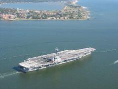 Eisenhower CVN 69  passing Fort Monroe as she leaves Hampton Roads