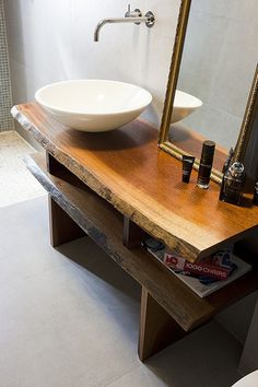 raw wood counter with bowl sink - great for a powder room Vanity Shelves, Cupboard Shelves, Wood Vanity, Sink Shelf, Cupboard Ideas, Wood Shelves, Shelving, Live Edge Furniture, Wood Furniture