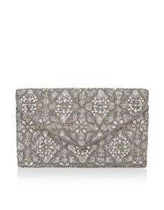 Beautifully elegant, our Catarina embellished envelope clutch bag is adorned with intricate beadwork, sequins and sparkly crystal gems in floral motifs. This...