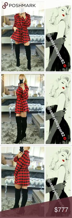 🚨LAST ONE🚨SEXY plaid print mini dress Boutique, no tags  Grab this sassy and sexy red and black plaid print mini dress for your wardrobe!! Features flannel-like material, 6 silver slap buttons on front with drawstrings at waist and little pockets on the sides. This dress has it all!! Pair with our faux black fur vest! Dresses Mini