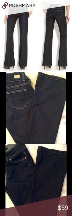 "Paige Hidden Hills Bootcut jeans Memphis wash Worn once excellent condition. Light topstitching details unadulterated dark-rinse jeans polished in a modern silhouette. Zip fly with double-button closure. Five-pocket style. Approx. inseam: 33.5"" with 20"" leg opening. Waist 32"" Approx. rise: front 9""; back 13 1/2"". 70% cotton 30% polyester; machine wash. Paige Jeans Jeans Boot Cut"