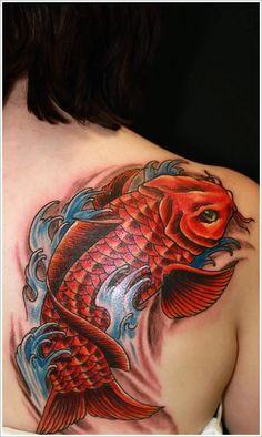 Koi Fish Tattoo Designs: Red Koi Fish Tattoo Designs For Men On Upper Back ~ Tattoo Design Inspiration
