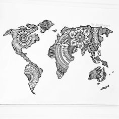 This is a recent piece I did for a close friend. World mandala map! Pretty happy with how it turned out #art#design#worldmap#mandala#ink#drawing#draw#paint#pattern#whimsical#floral#world