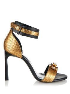 Metallic-python and leather sandals  | Lanvin | MATCHESFASHION.COM