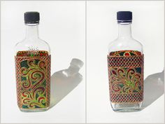 RichanaDragon ||| Glass bottle. Also can be used as LED shade. Hand painted stained glass. https://www.etsy.com/shop/RichanaDragon