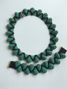 Peyote necklace with matching bracelet.