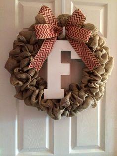Burlap wreath with Chevron bow