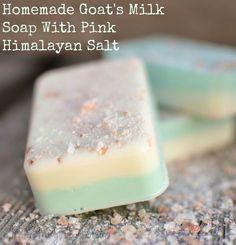 Homemade Goat's Milk Soap exfoliating pink himalayan salt. DIY bar soap.