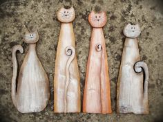 Wooden cats Wooden Cat, Wood Home Decor, House In The Woods