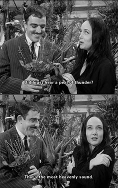 Gomez & Morticia with Cleopatra, her meat eating plant