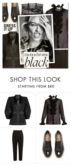 """Mission Monochrome: All-Black Outfit II"" by vampirella24 ❤ liked on Polyvore featuring Alexander McQueen, Gucci, Jeffrey Campbell and Hermès"