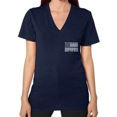 Back the Blue Police V-Neck (on woman) Shirt