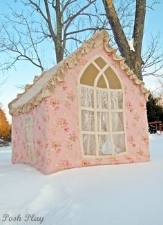The Jackie posh playhouse with gothic back window Kids Indoor Playhouse, Girls Playhouse, Childrens Playhouse, Build A Playhouse, Playhouse Ideas, Pvc Pipe Projects, Sewing Projects, Sewing Tips, Diy Pipe