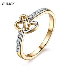 GULICX 2017 Gold Color Fashion Ring Love Double Heart Design Rhinestones Studded Simple Rings For Women Jewelry Gifts #Affiliate
