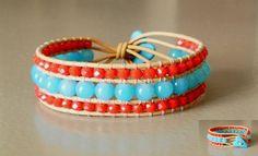 Handmade leather wrap bracelet             #leather #wrap #bracelet #czech #beads #handmade #FIMO #button #diy #boho