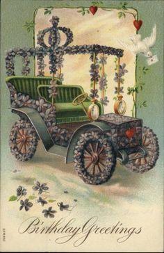 Birthday Greeting Old Car Flowers Dove Embossed Greeting c1910 Postcard   eBay