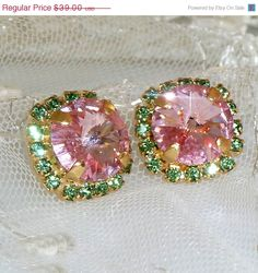 SALE Pink & Green Stud EarringsPink Crystal Post by VintageRoz, $35.10