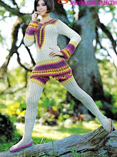 Vintage crocheted two-piece outfit - sensational Crochet Socks, Knit Or Crochet, Crochet Clothes, Crochet Pants, Vintage Knitting, Vintage Crochet, Crochet Designs, Crochet Patterns, Crochet Two Piece
