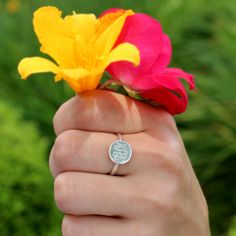 Monogrammed Sterling Silver Audrey Ring from Marleylilly.com