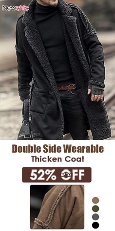 f24a7375769 Plus Size Mid Length Double Side Wearable Thicken Fur Warm Wool Blend Coat  For Men