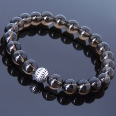 Men Women Smoky Quartz Bracelet Gemstone Sterling Silver Bead DIY-KAREN 455 #DIYKAREN #Handmade #Beaded #gemstones #sterling silver #healing stones #smoky quartz #mens bracelet  #women bracelet #handmade jewelry #diy