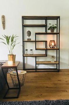 What Is Art Deco Furniture and Interior Design? Welded Furniture, Modern Wood Furniture, Home Furniture, Furniture Design, Home Living Room, Living Room Decor, Steel Bookshelf, Metal Bookcase, Muebles Living
