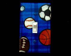 Light Switch Cover Sports Theme Basketball Football Soccer Golf Boys Bedroom Decor Wall Art