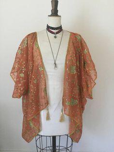 Orange kimono 1920's embroidered flapper festival shrug.