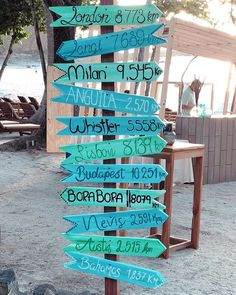 For a party on Virador Beach with attendees from all over the world we placed a fun directional sign at the entrance.