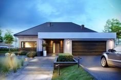 House Fertighaus bungalow mit garage How A Pendulum Works to Keep Time (Part Up until about the 1 Modern Family House, Modern Bungalow House, Bungalow House Plans, Modern House Plans, House Front Design, Small House Design, Modern House Design, Home Building Design, Building A House