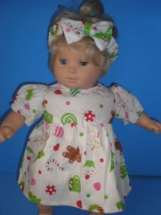 64e924c3ebea3 CLOTHES FOR BITTY BABY TWINS WHITE CHRISTMAS GINGERBREAD DRESS. Twin  BabiesBaby TwinsAmerican GirlBitty ...