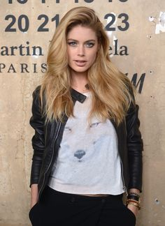 Doutzen Kroes // hair inspiration-Leather & a Wildfox tee:)