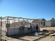 sandbag house, timber frame