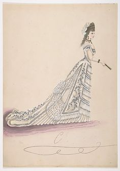 Anonymous, French, 19th century | Fashion Study: Woman in a White Floral Dress | The Metropolitan Museum of Art. Women in a corseted dress with a buslte. Accessorized with a fan. 1875-1900