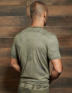 Filthy Crew Neck by C-IN2 in Olive Fatigue: Filthy is a collection of textured fabrics: hand-rubbed pigments and dyes to give a dirty, worn-in, worked-in look.  #CIN2 #CrewNeck #Tshirt