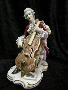 Capodimonte marked Porcelain Figurine in 1750 dress playing Cello in Pottery, Porcelain & Glass, Porcelain/ China, Capodimonte | eBay