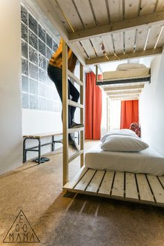Upcycled Bunk Beds at @Ecomama Hotel! Read the full article about this #5StarHostel located in #Amsterdam at http://hostelgeeks.com/5-star-hostel-ecomama-amsterdam/