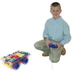 This electronic project kit by Elenco lets you build your own remote controlled mobile robotic vehicles with sounds, lights, and tech effects.
