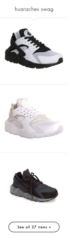 """""""huaraches swag"""" by royal174 ❤ liked on Polyvore featuring shoes, sneakers, huarache, nike, trainers, unisex sports, white black, nike footwear, black and white shoes and nike sneakers"""